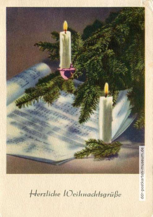 Herzliche Weihnachtswünsche.Herzliche Weihnachtsgrüße 1957 Ddr Postkarten Museum